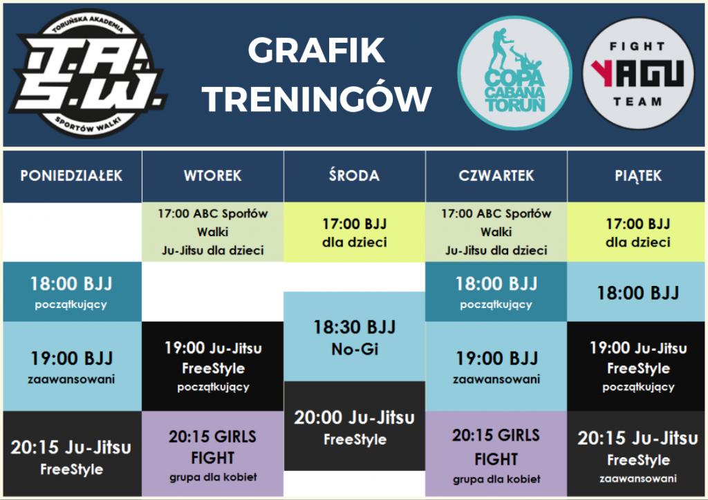 Grafik treningów Toruńska Akademia Sportów Walki TASW